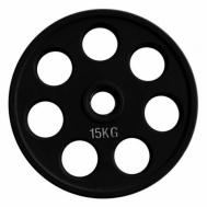 Диск олимпийский обрезиненный черный 15 кг Fitnessport RCP18-15