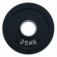 Диск олимпийский обрезиненный черный 2,5 кг Fitnessport RCP18-2,5