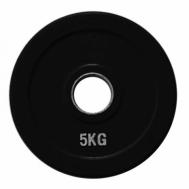 Диск олимпийский обрезиненный черный 5 кг Fitnessport RCP18-5