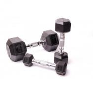 Гантельный ряд 10 пар 1-10 кг ручки хром, груз каучук Fitnessport D-03