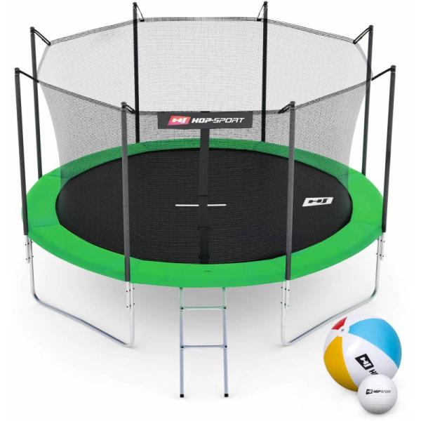 Батут Hop-Sport 10ft (305cm) зеленый с внутренней сеткой (4 ноги)