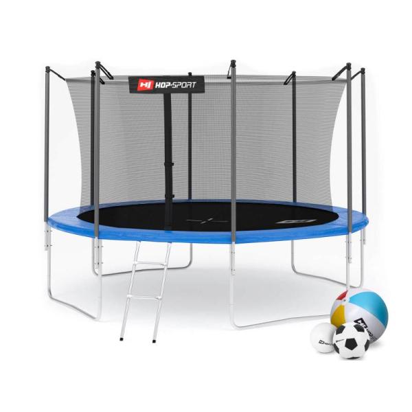 Батут Hop-Sport 12ft (366cm) синий с внутренней сеткой