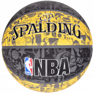Мяч баскетбольный Spalding NBA Graffiti Outdoor Grey/Yellow Size 7