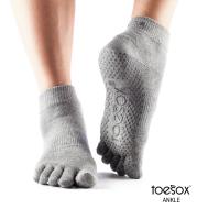 Нескользящие носки для йоги серые L Toesox Ankle Full GRIP FT3 841090108364