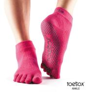 Нескользящие носки для йоги фуксия M Toesox Ankle Full GRIP FT5 794504195538
