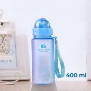 Бутылка для воды Casno 400 мл MX-5028 More Love Голубая с соломинкой