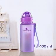 Бутылка для воды Casno 400 мл MX-5028 More Love Фиолетовая с соломинкой