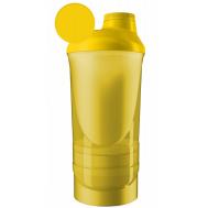 Шейкер спортивный ShakerStore Wave + с 2-мя контейнерами желтый