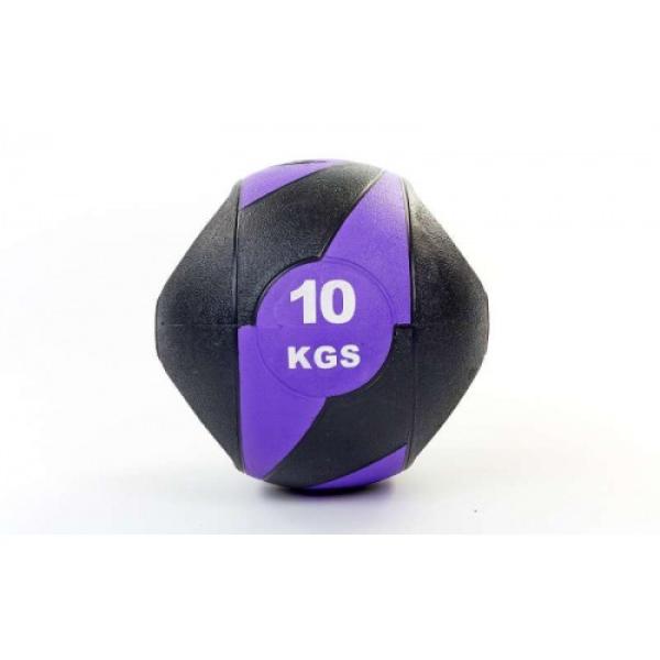 Мяч медицинский (медбол) с двумя рукоятками резина, 27,5см, черный-фиолетовый 10кг Fitnessport Mm 01-10Kg