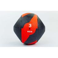Мяч медицинский (медбол) с двумя рукоятками резина, 23см, черный-красный 3 кг Fitnessport Mm 01-3Kg
