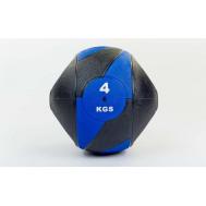 Мяч медицинский (медбол) с двумя рукоятками резина, 23см, черный-синий Fitnessport Mm 01-4Kg
