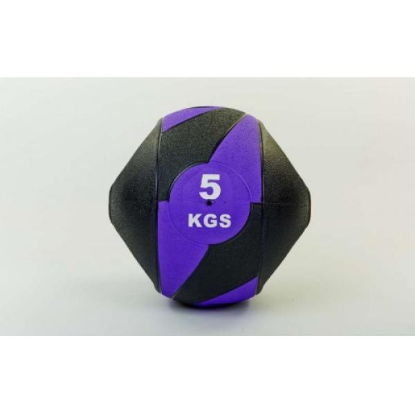 Мяч медицинский (медбол) с двумя рукоятками резина, 27,5см, черный-фиолетовый 5 кг Fitnessport Mm 01-5Kg