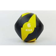 Мяч медицинский (медбол) с двумя рукоятками резина, 27,5см, черный-желтый 6 кг Fitnessport Mm 01-6Kg