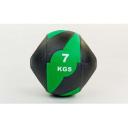 Мяч медицинский (медбол) с двумя рукоятками резина, 27,5см, черный-зеленый 7 кг Fitnessport Mm 01-7Kg
