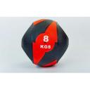 Мяч медицинский (медбол) с двумя рукоятками резина, 27,5см, черный-красный 8 кг Fitnessport Mm 01-8Kg