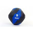 Мяч медицинский (медбол) с двумя рукоятками резина, 27,5см, черный-синий 9 кг Fitnessport Mm 01-9Kg