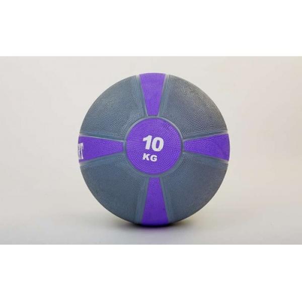 Мяч медицинский (медбол)  резина,28,5см,серый-фиолетовый 10кг Fitnessport Mb 01-10Kg