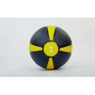 Мяч медицинский (медбол)  резина,19см,чорно-жолтый 1кг Fitnessport Mb 01-1Kg