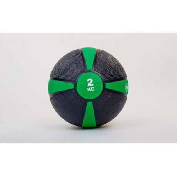 Мяч медицинский (медбол)  резина,19см,чорно-зеленый 2кг Fitnessport Mb 01-2Kg