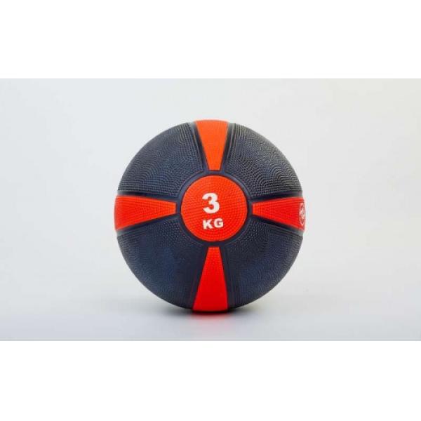 Мяч медицинский (медбол)  резина,21,5см,чорно-красный 3кг Fitnessport Mb 01-3Kg