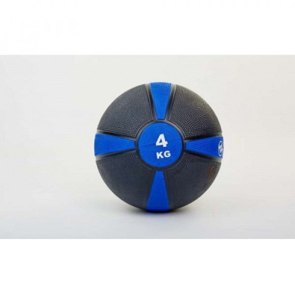 Мяч медицинский (медбол)  резина,21,5см,чорно-синий 4 кг Fitnessport Mb 01-4Kg