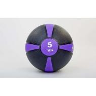 Мяч медицинский (медбол)  резина,24см,чорно-фиолетовый 5кг Fitnessport Mb 01-5Kg