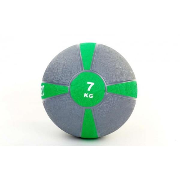 Мяч медицинский (медбол)  резина,28,5см,серый-зеленый 7кг Fitnessport Mb 01-7Kg