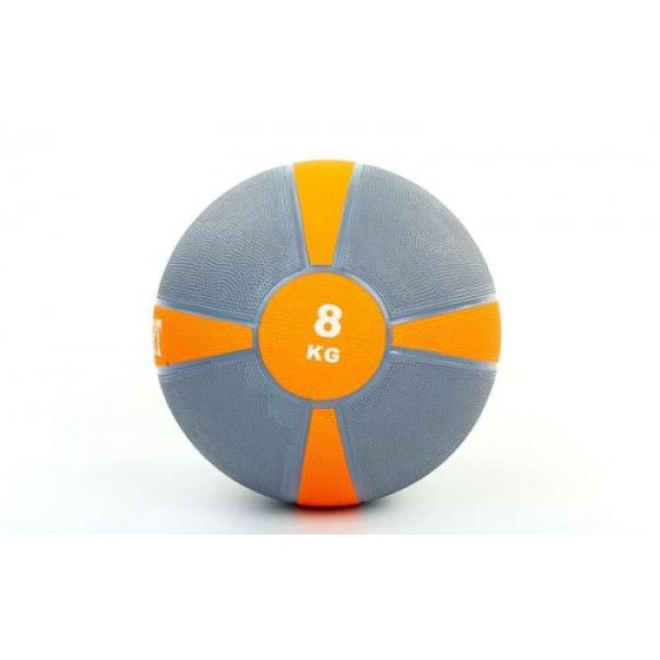Мяч медицинский (медбол)  резина,28,5см,серый-оранжевый 8кг Fitnessport Mb 01-8Kg