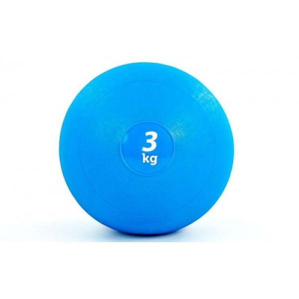 Мяч медицинский (слэмбол) SLAM BALL 3кг ( 23см, синий) Fitnessport Sb-01-slam-ball-3kg