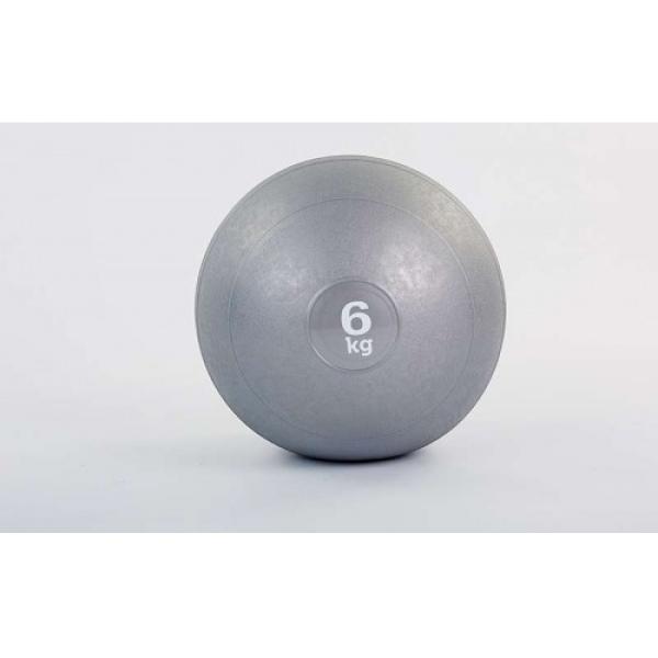 Мяч медицинский (слэмбол) SLAM BALL  6кг ( 23см, серый) Fitnessport Sb-01-slam-ball-6kg