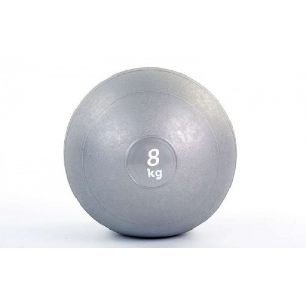 Мяч медицинский (слэмбол) SLAM BALL 8кг ( 23см, серый) Fitnessport Sb-01-slam-ball-8kg