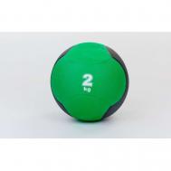 Мяч медицинский (медбол)  резина,19см,зелено-черный 2кг Fitnessport Md 02-2Kg
