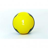 Мяч медицинский (медбол)  резина,19см, желтый-черный 1кг Fitnessport Md 02-1Kg
