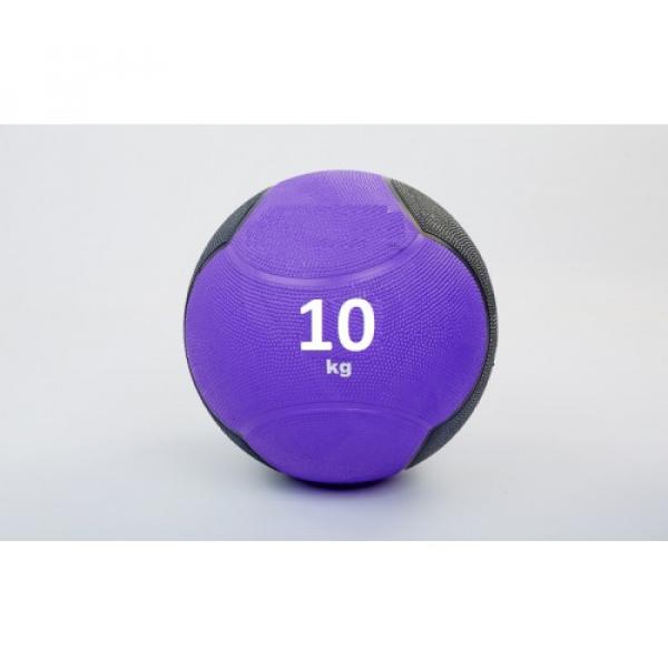 Мяч медицинский (медбол)  резина,28,5см,фиолнтово-чорный 10кг Fitnessport Md 02-10Kg