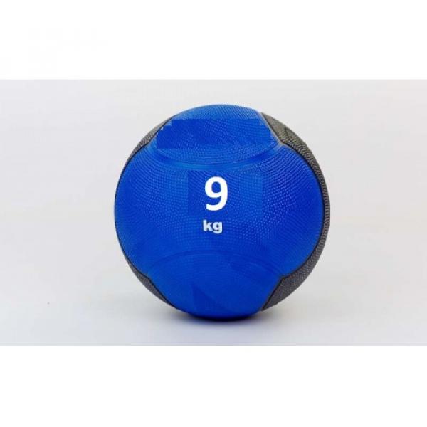 Мяч медицинский (медбол)  резина,28,5см,сине-чорный 9кг Fitnessport Md 02-9Kg