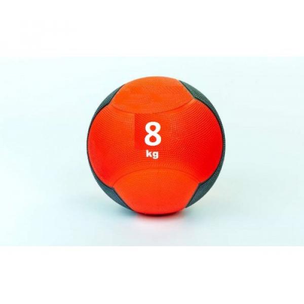 Мяч медицинский (медбол)  резина,28,5см,красно-чорный 8кг Fitnessport Md 02-8Kg